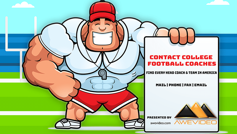 Contact College Football Coaches List Poster presented by awevideo.com.