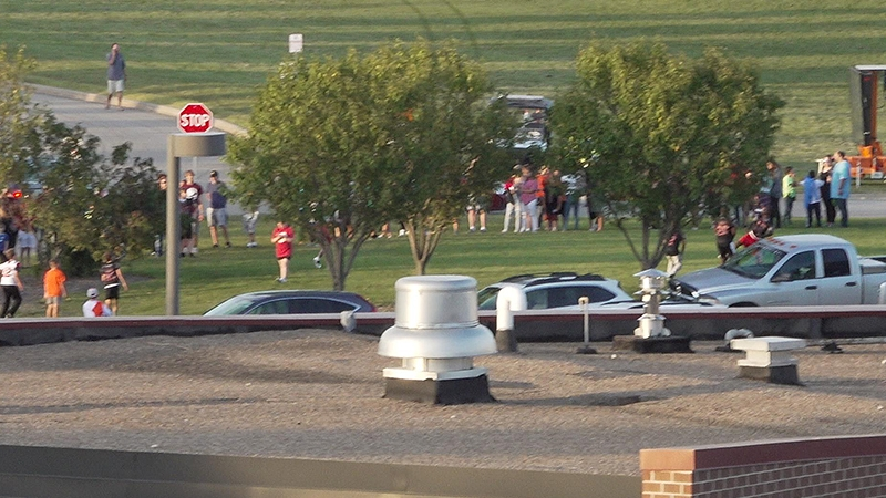 Crowd waiting in line to buy tickets at the Dowling Catholic vs. Valley High School football game on September 6, 2019.
