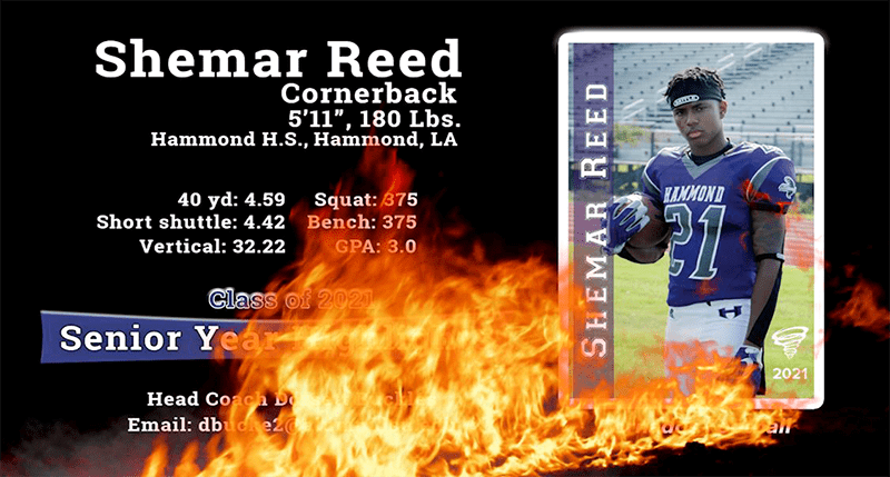 Screenshot of Shemar Reed's senior year highlight video marquee.